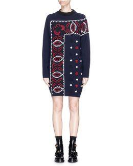 Bandana Embroidered Wool Knit Dress