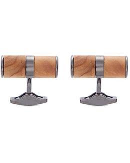 Wood Cylinder Sterling Silver Cufflinks