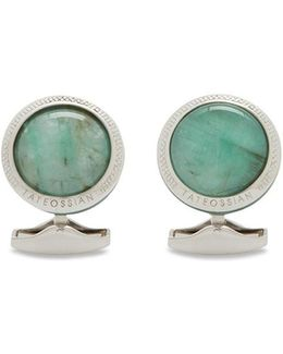 Emerald White Quartz Doublet Cufflinks