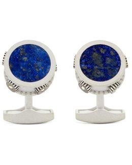 Lapis Lazuli Tambourine Sterling Sliver Cufflinks