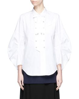 Ribbon Collar Double Breasted Broadcloth Shirt