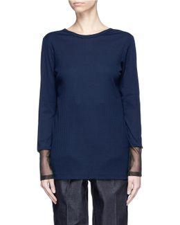 Mesh Trim Rib Long Sleeve T-shirt