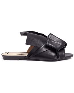 Bow Leather Slides