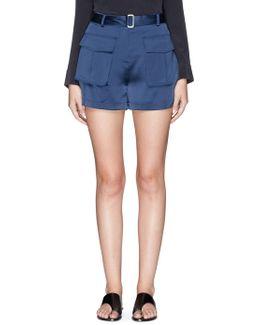 'vasilica' Belted Silk Satin Shorts