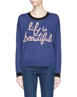 'eleni' Slogan Embroidered Sweater