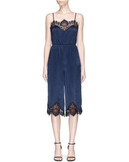 'quincy' Lace Trim Silk Satin Gaucho Jumpsuit