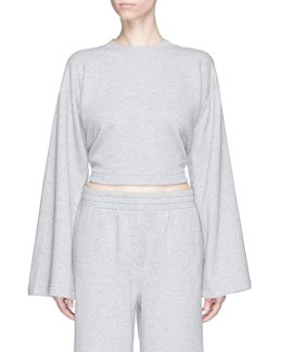 Tie Back Cropped French Terry Sweatshirt