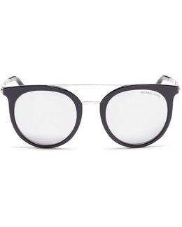 'ila' Double Bridge Round Mirror Sunglasses