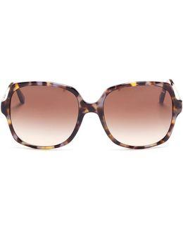 'bia' Oversized Tortoiseshell Acetate Square Sunglasses
