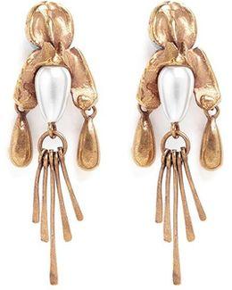 Glass Pearl Fringe Drop Earrings