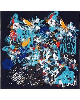 ' Swarm' Collage Print Silk Twill Scarf