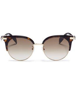 Skull Temple Tortoiseshell Acetate Browline Metal Sunglasses