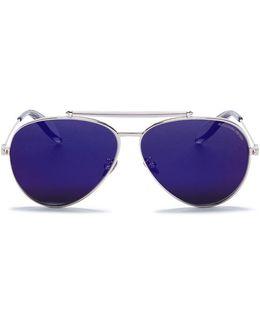 'piercing Pilot Frame' Metal Aviator Mirror Sunglasses