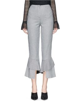 Ruffle Cuff Cropped Houndstooth Suiting Pants