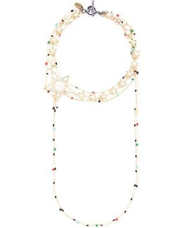 Faux Pearl Star Charm Beaded Chain Choker Necklace