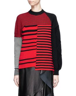 Stripe Patchwork Wool Mixed Knit Sweater