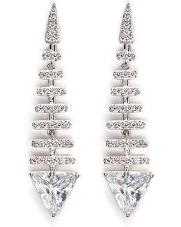 'trend' Cubic Zirconia Fishbone Drop Earrings