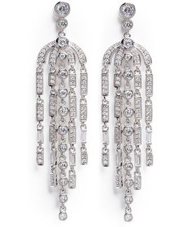 'deco' Cubic Zirconia Pear Chandelier Earrings