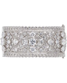 'red Carpet' Cubic Zirconia Floral Openwork Bangle