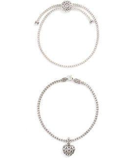 Silver Heart Charm Woven Chain Bracelet