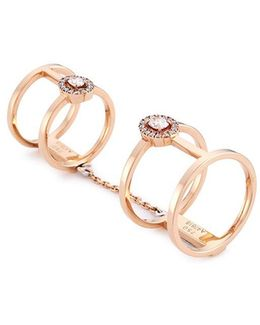 'glam'azone Double' Diamond 18k Rose Gold Chain Ring