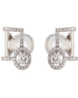 'glam'azone Pavé' Diamond 18k White Gold Earrings