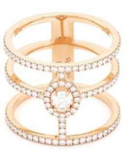 'glam'azone 3 Rows' Diamond 18k Rose Gold Ring