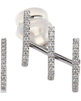 'gatsby Multi-hoop' Diamond 18k White Gold Mismatched Earrings