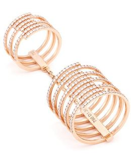 'gatsby Double' Diamond 18k Rose Gold Chain Ring