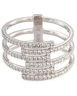'gatsby 6 Row' Diamond 18k White Gold Ring