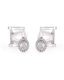 'glam'azone' Diamond 18k White Gold Cage Earrings