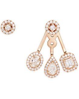 'my Twin Trio' Diamond 18k Rose Gold Asymmetric Earrings