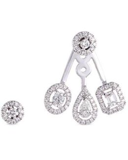 'my Twin Trio' Diamond 18k White Gold Mismatched Earrings