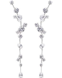 Cubic Zirconia Link Drop Earrings