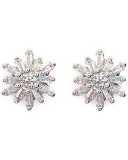 Cubic Zirconia Starburst Stud Earrings