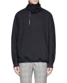 Turtleneck Woven Wool Sweatshirt