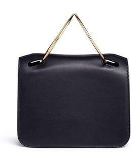 'neneh' Metal Ring Handle Calfskin Leather Bag