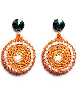 'orange Slice' Rhinestone Crochet Fruit Drop Earrings