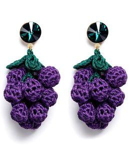 'have A Grape Day' Rhinestone Crochet Drop Earrings