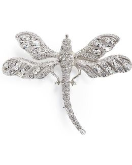 Glass Crystal Dragonfly Brooch