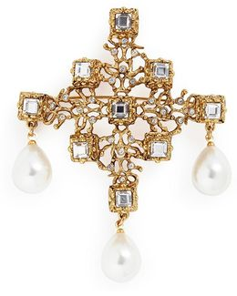 Glass Crystal Pearl Drop Brooch