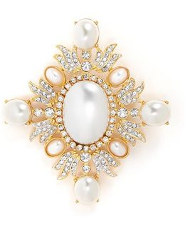 Glass Crystal And Pearl Brooch
