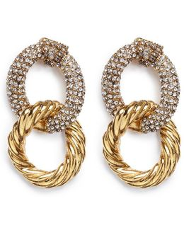 Swarovski Crystal Interlocking Hoop Earrings