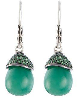 Jade Tsavorite Silver Drop Earrings