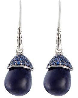 Sodalite Sapphire Silver Drop Earrings