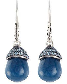 Topaz Quartz Silver Drop Earrings