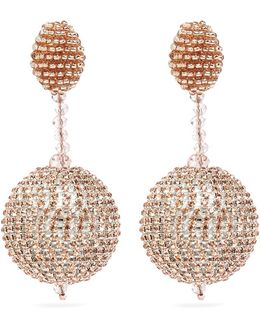 Beaded Strass Pavé Sphere Drop Clip Earrings