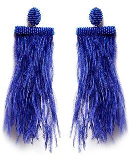 Feather Tassel Drop Clip Earrings