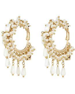 'pascoli' Faux Pearl Cluster Fringe Hoop Earrings