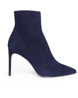 Strass Pavé Suede Ankle Boots
